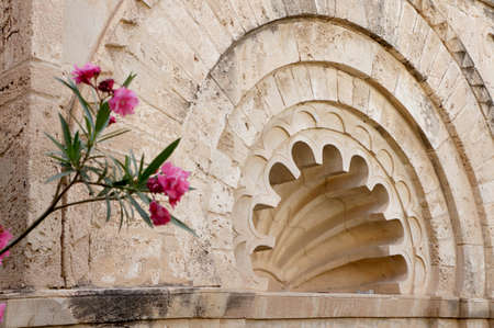 Architectural detail of the multilobed arc of the Kobba in the medina of Sousse