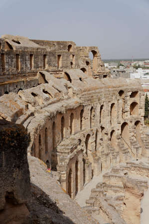 Panoramic view of the amphitheater of El Djem in Tunisia Stock Photo - 15046275