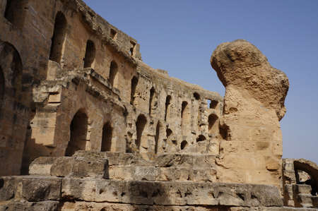 stone arches: View of the stone arches of the amphitheater of El Djem in Tunisia