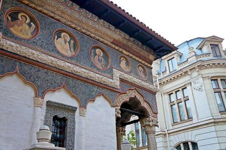 foreshortening:  Foreshortening view of the Stavropoleos monastery of Bucharest