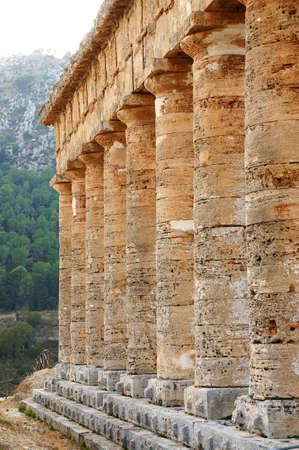 View of the monumental colonnade of the greek temple of Segesta in Sicily Stock Photo - 15350304