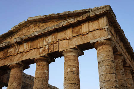View of the monumental pediment of the greek temple in Segesta photo