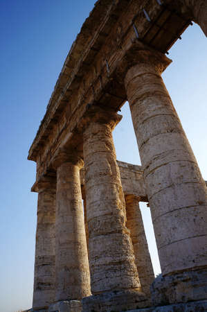 View of the monumental columns of the greek temple in Segesta Stock Photo - 15350284