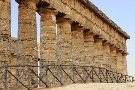 View of the monumental colonnade of the greek temple of Segesta in Sicily photo