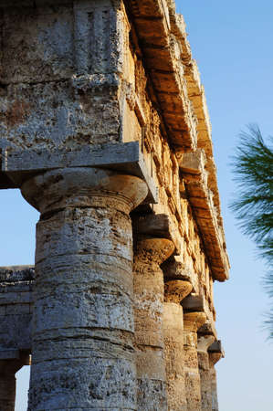 pediment: View of the monumental columns and pediment of the greek temple of Segesta