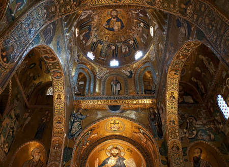 apses: Internal view of the apses and the cupola in the Palatine Chapel of Palermo in Sicily