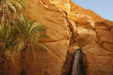 View of the cascade in the Chebika oasis in Tunisia photo