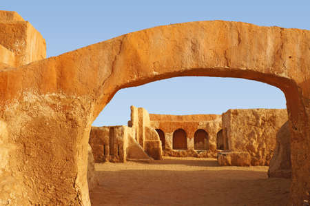View of the Star wars movie set in the Sahara desert of Tunisia,Africa photo