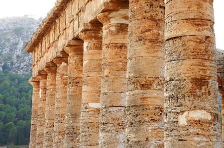 Panoramic view of the colonnade of the greek temple of Segesta in Sicily photo