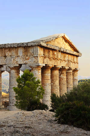 View of the greek temple of Segesta in Sicily photo