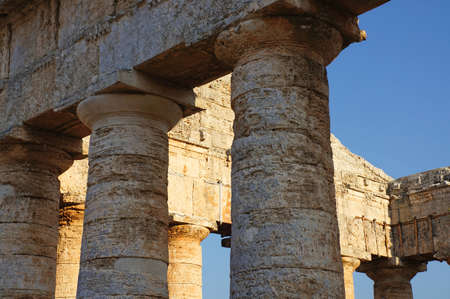 The fronton of the greek temple of Segesta in Sicily photo