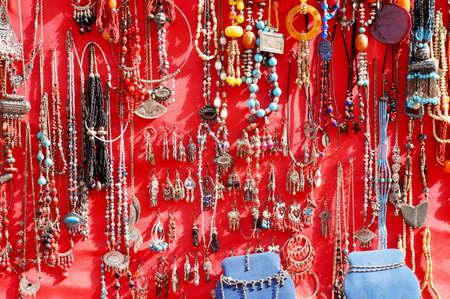 artisanal: Colorful handmade jewelery on sale in a Tunisian bazaar