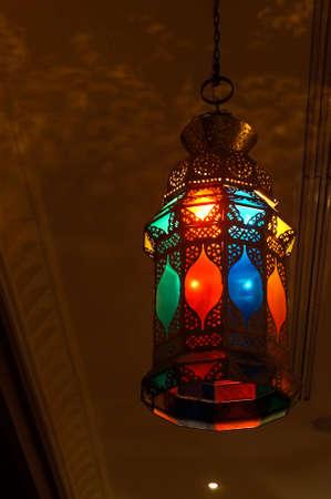 Oriental colorful lamp in an interior scene photo
