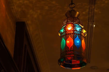 Oriental colorful lantern in an interior scene photo