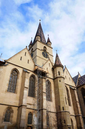 evangelical: Facade of the evangelical cathedral of Sibiu, Romania