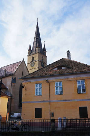 foreshortening: Foreshortening view of the cathedral of Sibiu in Romania