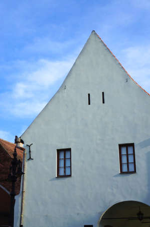 The white facade of the Emil Sigerus Museum of of Saxon Ethnography and Folk Art of Sibiu in Romania