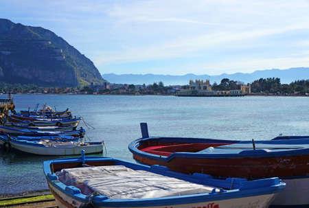 mondello: Mondello coastview in Sicily with boats and Pellegrino Mount
