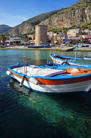 mondello: Fishing wooden boats moored at Mondello, Sicily Editorial