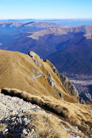 mounts: Panoramic view from Bucegi Mountains in Romania