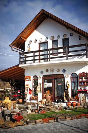 ewer: Ceramic Pottery Shop in Horezu, Romania Editorial