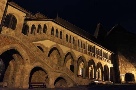 prison yard:  View of the courtyard in the Corvin Castle of Hunedoara in Romania