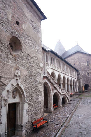 View of the courtyard in the Corvin Castle of Hunedoara in Romania