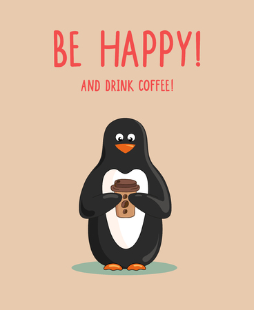 Cute cartoon penguin with coffee cup on pastel background. Lettering Be happy and drink coffee Illusztráció