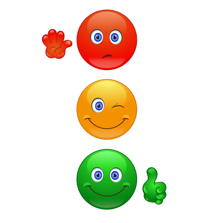 Cartoon traffic lights on the white background 版權商用圖片 - 45630886