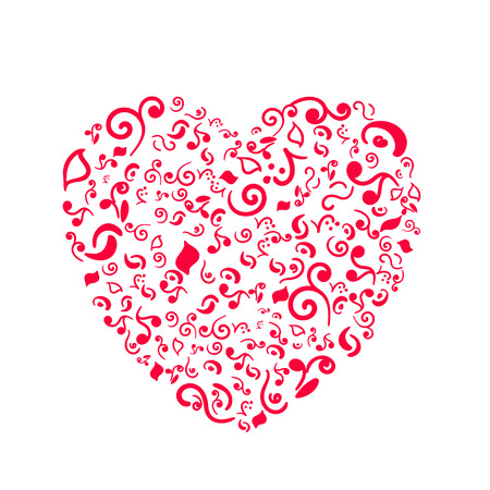 Doodle heart isolated on white background Иллюстрация