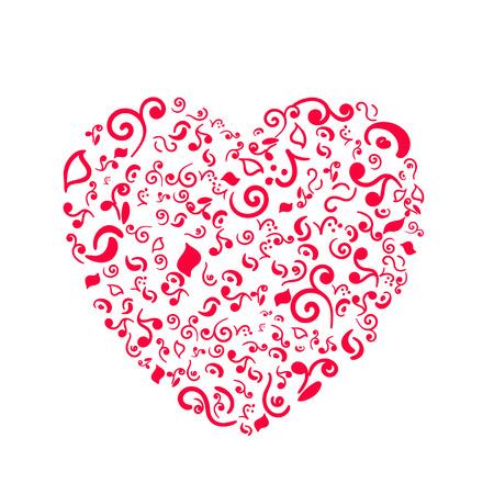 Doodle heart isolated on white background 向量圖像
