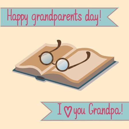 grandparents: Greeting card grandparents day with a book and glasses for grandfather