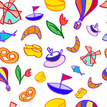 klompen: Dutch images seamless pattern on white background Illustration