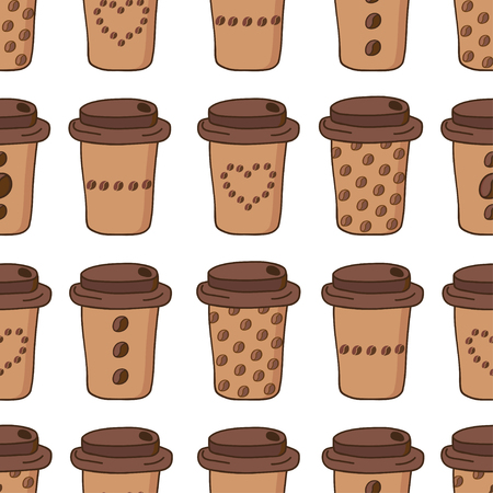 Vector coffee cups seamless pattern, coffee to go cups with different coffee beans patterns Illusztráció