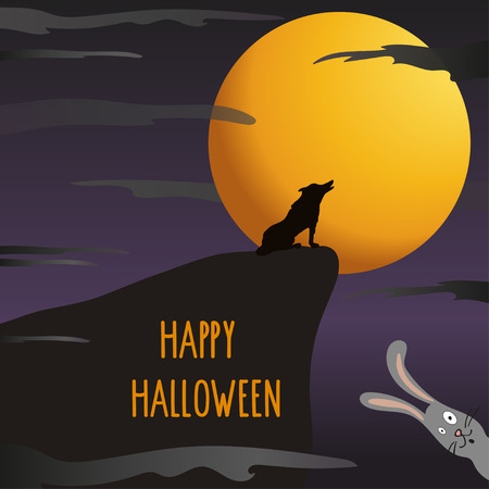 Halloween night background with full moon, wolf and hare, happy halloween lettering