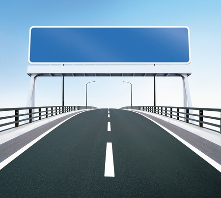 Bridge highway with blank sign Stock Photo - 15750612