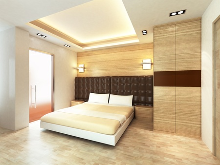 closet door: Modern bedroom in minimalist style
