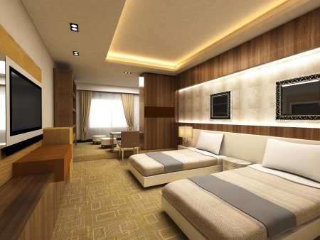 suite: Modern bedroom in minimalist style