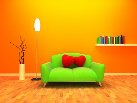 Modern and warm interior design  Two cushion are placed on the sofa and relying on each other