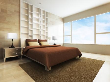 Luxueus minimalistisch kunstdecor slaapkamer met koninklijk bed