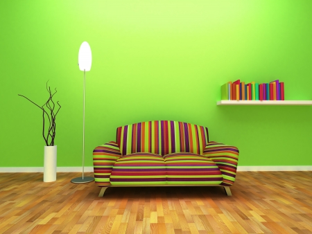 Contemporary Interior design of living room with decor and furniture