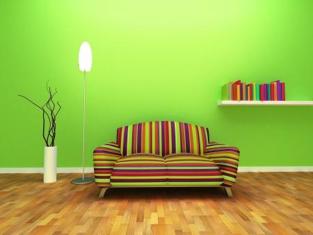 Design contemporain Intérieur de salle de séjour avec un décor et du mobilier