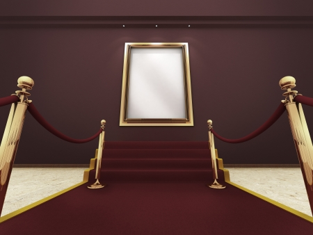 Red carpet leading up to the stairs to a golden picture frame on a wall   A clipping path for the white content area is included for placing your own content