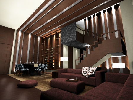 Modern living room design with table and sofas 3D rendering