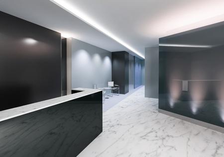 Hall d'entrée d'un bureau avec une décoration moderne