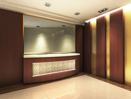 Une zone de réception dans un immeuble de bureaux