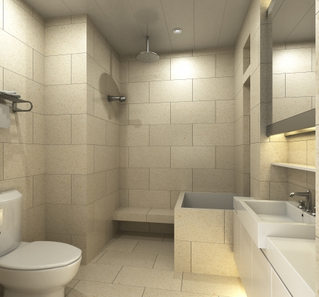 Modern bathroom for residences or hotels photo