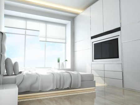 Modern bedroom of residences or hotels in minimalist style photo