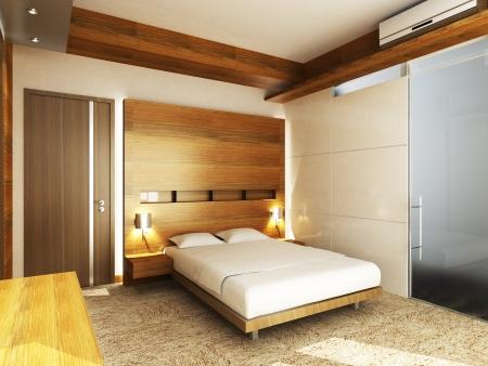 closet door: Modern bedroom in minimalist style