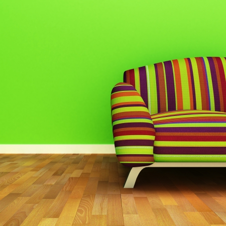 silla de madera: Un sof� colorido contempor�neo